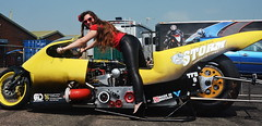 Holly_0537 (Fast an' Bulbous) Tags: storm funnybike drag race bike turbo biker chick babe motorcycle hot hotty long brunette hair leather leggings high heels stiletto shoes pinup model santa pod people outdoor nikon d7100 gimp