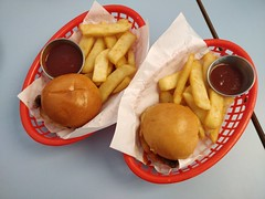 Kids hamburgers AUD10 each - Good Times Milk Bar, East Bentleigh (avlxyz) Tags: burger hamburger beef chips