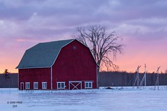 Evening Sky_explore (jenny_miner) Tags: barn farm winter sky sunset wisconsin ice snow red scenic
