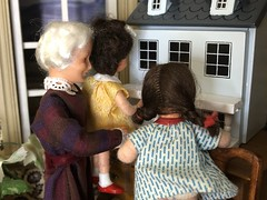 3. Success (Foxy Belle) Tags: caco dolls 112 dollhouse parlor old fashioned house furniture living room black bird toile wallpaper child girl children woman white hair elderly grandmother