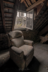 The past is an old armchair in the attic,.. the present an ominous ticking sound, and the future is anybody's guess... (Kristel van de Laar Photography) Tags: abandoned attic beauty beautiful decay belgium urbex overgrown photography gonebutnotforgotten nikon nikond810 winter nature monastery sigma1424 hdr
