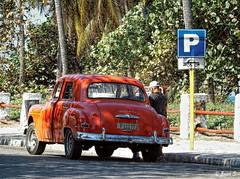 ... (Jean S..) Tags: car people street trees orange sidewalk old ancient