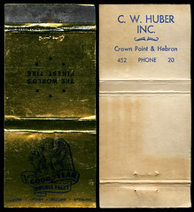 C. W. Huber in Hebron, Indiana - Matchcover (Shook Photos) Tags: match matchcover matchcovers matchbook matchbooks smoke smoking advertising advertise promotional cwhuber goodyear doubleeagle tire tires hebronindiana hebron indiana portercounty