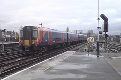 450015 (Rob390029) Tags: 450015 south west trains class desiro train track tracks rail rails travel traveling transport transportation transit public emu electric multiple unit clapham junction railway station clj london red orange white blue colour colours colourful 450