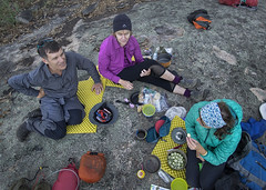 pre-dinner (gnarlydog) Tags: australia backpacking tramping bushwalking travellight granite dinner social fromabove cooking friends