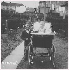 Me and Bob Circa 1958 (dark-dave) Tags: nottingham cliftonestate letcomberoad 1950s nostalgia pram silvercross washinglines daysgoneby vintage dickybow