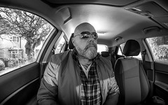 Cars and selfies. . . (CWhatPhotos) Tags: cwhatphotos mono monochromebw black white portrait inside art artisrtic self selfie olympus penf m zuiko 8mm prime lens f18 four thirds wide angle fisheye fish eye view digital camera photographs photograph pics pictures pic picture image images foto fotos photography artistic that have which with contain artistc light auto automobile car hyundai i20 12se 12 se vehicle 2017 new brand man male driver driving interior goatee flickr