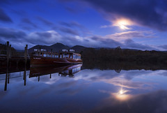 Blue Moon (Tracey Whitefoot) Tags: 2017 tracey whitefoot blue moon lake district lakes derwent water derwenwater boat calm still sunrise dawn pre keswick cumbria moonlit