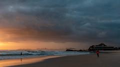 Beach Glow (armct) Tags: sunrise morning beach sand surf coolangatta currumbin mist cloud shower silhouette horizon skyline vikings elephantrock goldcoast reflection waves tide rocks storm squall imminent wideangle nikon d810 2470mm f28 walking recreation club