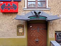 photo - Batman Naktinis Kokteiliu Baras, Klaipeda, Lithuania (Jassy-50) Tags: photo klaipėda klaipeda lithuania batman batmannaktiniskokteiliubaras cocktailbar bar sign door entrance canopy doorcanopy bat batcanopy metal metallic