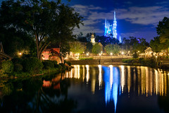 Cinderella Castle Dreamlights & the Rivers of America (TheTimeTheSpace) Tags: waltdisneyworld disneyworld disney magickingdom cinderellacastle dreamlights riversofamerica night reflections nikonz7 nikon2470f4s