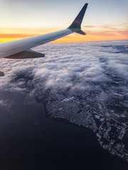 Over the city of Nanaimo, on approach to Vancouver. (C McCann) Tags: sunrise flying windowseat nanaimo aircanada b73m 737max 737