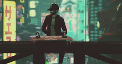 ᴘɪᴘᴇ-ʟɪɴᴇ (ѕєαи) Tags: tokyo skate board hat coat neon japan steampunk future