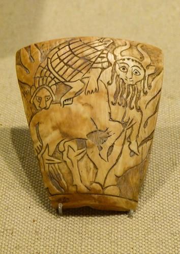 Shell Inlay depicting combat between a human-headed bull and a lion-headed eagle Mesopotamia Early Dynastic IIIa 2600-2500 BCE