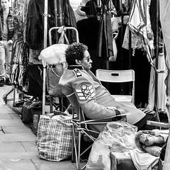 IMG_1030408 (Kathi Huidobro) Tags: blackwhite bw london eastlondon londonstreets monochrome bricklane streetphotography streetmarket military streetportrait londoners candid