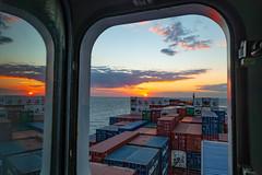 Seamans Life (Tim RX100) Tags: ship vessel atlantic ocean water sun sky life window cloud sea