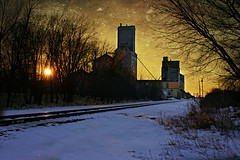 Along the Tracks (Dave Linscheid) Tags: winter cold snow railroad texture textured elevator grainelevator adrianelevator butterfield watonwancounty mn minnesota usa picmonkey sunset