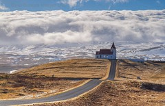 Traditional Icelandic Church (Twogiantscoops) Tags: iceland icelandic church mountain snowscene canon 5dmk2 2470mm red roof mountainrange chrismarshallsimages wwwscoopsimagescouk