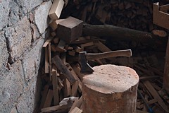 Axe and firewood (Karolina Wasylyk) Tags: wood firewood tree brown axe timber log old cut ax wooden fire stack nature forest tool heap texture pile material fuel bark construction chopped metal