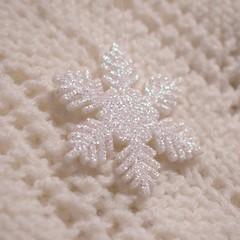 snowflake (ladybugdiscovery) Tags: macromonday 3squarewhite white snowflake babyblanket crochet sparkly whiteonwhite