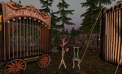 Twilight Carnival (Inner Space Explorer) Tags: sl secondlife carnival circus sideshow wagon sky chair tophat trees