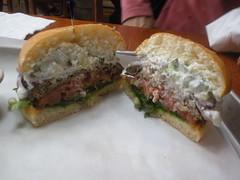 lamb burger from Ziggy's Burgers - cut open (Danny / ixfd64) Tags: ixfd64 nikon coolpix