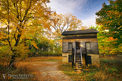 The Doctor's House (tfavretto) Tags: abandoned autumn circular cirrus clapboard clouds colors colours evening fall fayette historic house leaves michigan park path polarizer preserved sky state trail trees up old