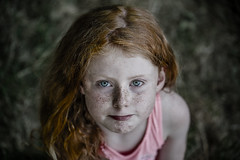 Red hair is great. It's rare, and therefore superior.-Augusten Burroughs- (Lorrainemorris) Tags: irishchild irish sel70200gm blueeyes bokeh blur girl ireland portrait child freckles 70200 gmaster zeiss 7rm2 sony redhair