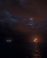 Cloudy Moon Offshore (Craig Hannah) Tags: moon sky clouds offshore oil oilrig gas platform northsea scotland sea weather nightsky night longexposure craighannah january 2019