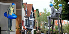 Socorristas de Biarritz X-X, Aurora Cañero, Knokke, Belgium (claude lina) Tags: claudelina belgium belgique belgië knokke merdunord noordzee plage sable beach cabines socorristasdebiarritzxx oeuvre art sculpture statue auroracañero