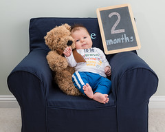 Gabe 2 Months (zachary.locks) Tags: 2 baby bear big blue boy chair child feet gabe growing infant month monthly months old photo photos sitting smile son teddy toes two up zlocks