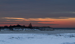 Sunset on the Ice (brucetopher) Tags: beach sky sunset pink glow afterglow ice frozen freeze freezing cold winter icy water bay estuary