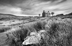 """There's nothing for you here"" (Ffotograffiaeth Dylan Arnold Photography) Tags: bleak remote desolate windswept austere blackandwhite monochrome mono landscape house abandoned ruin derelict forgotten forsaken quiet still weather sky clouds grey moody atmospheric outside outdoors wall fields stone grass marsh reeds wild wales snowdonia cwmpennant roof holes rocks leadingline ruleofthirds thirds dramatic localshop leagueofgentlemen moor moorland hills dark contrasts trees countryside rural bucolic rustic"
