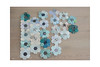 Scrappy Flower Quilt - WIP (balu51) Tags: patchwork sewing quilting stashsewing quilt flowerquilt hexagons scrappy blue green teal beige grey black februar 2019 copyrightbybalu51