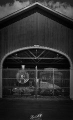 CAGED! (Old Trains) - HDR/ Black and White (Rohit KC Photography) Tags: train rail blackandwhite hdr dark contrast vignette clouds caged cage outofservice bw sacramento ca california amateur edited travel canon canon5dmarkii canonef24105f4lisusmlens canonphotos photo photography blackandwhitephotography highlights lightroom metalbars bars building