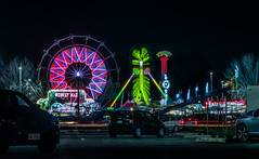 freak out in the parking lot (pbo31) Tags: bayarea california nikon d810 color march 2019 boury pbo31 stpatricksday night dark black hayward eastbay alamedacounty fair parking lot ride spin carnival traveling butler amusements motion lightstream freakout green