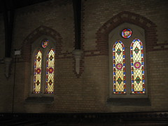 Two-Non Figurative Stained Glass Windows by Ferguson and Urie along the Southern Aisle of the Former Saint George's Presbyterian Church - Chapel Street, St Kilda East (raaen99) Tags: fergusonandurie fergusonanduriestainedglass fergusonurie fergusonuriestainedglass floral flower blue red green yellow glass victorianstainedglass quarryglass leadlight leadlightglass diaperpattern pattern nineteenthcenturystainedglass 1880 1880s floralpattern saintgeorgespresbyterianchurch saintgeorgesunitingchurch saintgeorgeschurch saintgeorgesstkildaeast saintgeorgeseaststkilda stgeorgespresbyterianchurch stgeorgesunitingchurch stgeorgeschurch stgeorgesstkildaeast stgeorgeseaststkilda unitingchurch presbyterianchurch presbyterian eaststkilda stkildaeast chapelstreet chapelst church placeofworship religion religiousbuilding religious melbourne nineteenthcentury victorian victoriana 19thcentury victoria australia gothicrevivalarchitecture gothicarchitecture gothicrevivalchurch gothicchurch gothicbuilding gothicrevivalbuilding ecclesiastical gothicrevivalstyle gothicstyle architecturallydesigned albertpurchas architecture building window stainedglass stainedglasswindow lancet lancetwindow star starpattern detail