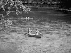 Couples Canoe (clarkcg photography) Tags: couple man woman canoe water creek river paddle blackandwhite blackwhite bw candid