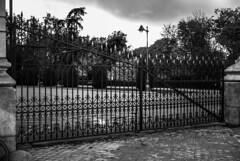 The fence of the park (Jose Rahona) Tags: fencedfriday fencefriday fence friday parque park valla vallado arboles trees nubes clouds blancoynegro blackandwhite bw