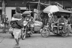 Hanging Around (Beegee49) Tags: street men people sitting motorbike blackandwhite monochrome bw luminar sony a6000 bacolod city philippines asia