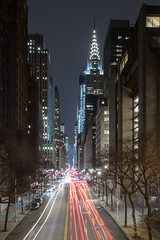 Chrysler Building at Night from Tudor City Overpass (Jamie_Griffin) Tags: nyc newyorkcity travel city urban tower building night nighttime long exposure light trail trails explore red blue canon really right stuff reallyrightstuff