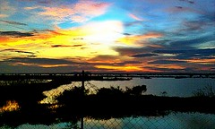 BEYOND THE BROKEN FENCE (Sketchbook0918) Tags: sky colorful sunset lake pond cambodia travel photography broken fence backyard