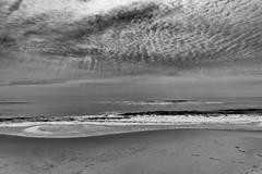 Lazy Curves (delmarvajim) Tags: bw blackandwhite monochrome seaside oceanscape landscape assateagueisland clouds waterbeach sand light shadow reflection drama digitalprocessing