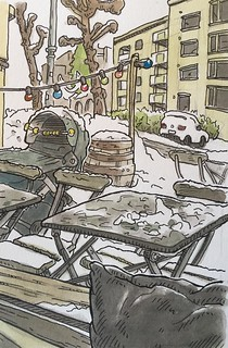 Out the window of Vespa Cafe, Oslo. Drawn on location.