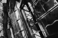 (a.pierre4840) Tags: olympus om4ti zuiko 35mm f2 35mmfilm ilford ilfordhp5 hp5 hp5plus bw blackandwhite monochrome noiretblanc urbex urban decay perspective abandoned derelict window shadows pengchau hongkong