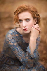 Timeless Laura ({jessica drossin}) Tags: jessicadrossin portrait naturallight canon 85mm face freckles redhair redhead hair eyes lace blue gold orange wwwjessicadrossincom