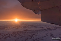 Engine Illumination (kevin-palmer) Tags: flight airplane windowseat sheridan wyoming winter march snow early morning sunrise dawn nikond750 tamron2470mmf28 sun sunlight color colorful gold orange hills engine turbine wing clouds sky