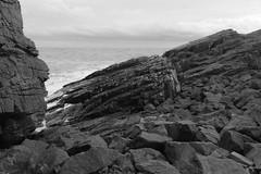 Cliffs,Collieston_Mar 19_531 (Alan Longmuir.) Tags: monochrome grampian aberdeenshire collieston cliffs