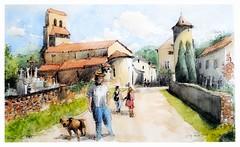Oust - Occitanie - France (guymoll) Tags: oust occitanie france croquis aquarelle watercolour watercolor aguarela acuarela village roman église cimetière
