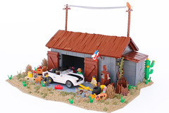 Americana: Mustang Hardtop barn find (Andrea Lattanzio) Tags: americana america usa us barn find mustang hardtop shelby cobra ford lego minifig gas petrol pump muscle pony car ideas contest